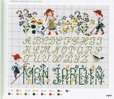 0 point de croix grille et couleurs de fils abécédaire alphabet mon jardin, enfants