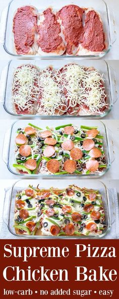 Baked chicken recipes - Supreme Pizza Chicken Bake Recipe Low Carb The Schmidty Wife Diet Recipes, Cooking Recipes, Healthy Recipes, Cooking Tips, Recipies, Tasty Recipes For Dinner, Healthy Supper Ideas, Healthy Low Carb Meals, Easy Low Carb Recipes