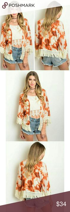 """Fall boho chic fringe detail kimono cardigan NWT Chic & trendy kimono with fringe trim at the bottom. Cream with a rust orange tie dye design. Super soft polyester knit. Not sheer or see through. Perfect for Fall. Brand new with tag. Ladies small :     Fits size 0 to 8 Ladies medium: Fits size 8 to 10 Ladies large:       Fits size 10 to 12 Length from shoulder to the bottom 21"""" Jill Marie Boutique Sweaters Cardigans"""