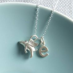 personalised flying pig necklace by lily charmed | notonthehighstreet.com