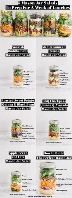 Here are 5 Mason Jar Salads To Meal Prep for a Week of Lunches you can prep in just one hour for your entire week ahead! Plus tips for making the perfect mason jar salad. via http://jessicainthekitchen.com Mason Jar Salads, Mason Jar Food, Mason Jar Recipes, Food Jar, Mason Jar Drinks, Mason Jar Lunch, Mason Jar Crafts, Mason Jar Diy, Mason Jar Smoothie