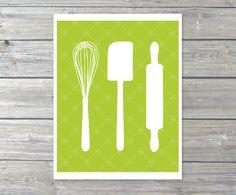 Kitchen Utensils   Digital Print  Baking Whisk by AldariArt, $18.00, #lime, #green, #kitchen, #cooking, #Mother, #decor