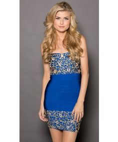 Roxanni Nikki Bandage DressIN Royal Blue with  Gold By Holt Find More : http://www.imaddictedtoyou.com/