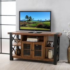 Tori Solid Wood TV Console Stand with Cabinet by Christopher Knight Home | Overstock.com Shopping - The Best Deals on Entertainment Centers