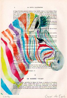 Drawing Illustration Giclee Prints Posters Mixed Media Art Acrylic Painting Holiday Decor Gifts: Rainbow zebra. $9.00, via Etsy.