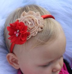gold and red headband plastic toddler flower girl hard headband Christmas red headband champagne headband red toddler Christmas flowers by SummerBloomKids