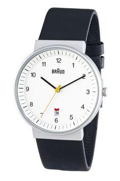 Braun Analog Round Watch Black Leather