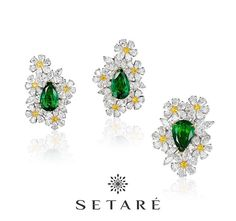 A lovely combination of fine emeralds and intense yellow diamonds in this unique ring and earrings set. #Setare' #Emerald #YellowDiamonds #Diamonds #Platinum #HighJewelry #Style #Fashion #NYC