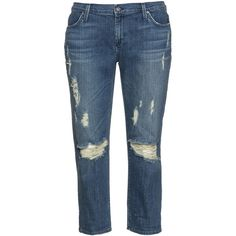 James Jeans Blue Plus Size Distressed cropped boyfriend jeans ($245) ❤ liked on Polyvore featuring jeans, blue, plus size, distressed boyfriend jeans, ripped jeans, plus size jeans, plus size distressed jeans and mid rise boyfriend jeans