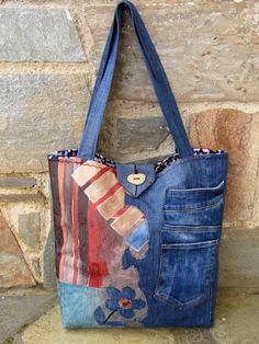 Artículos similares a Jean reciclado una bolsa de tela de tapicería en Etsy