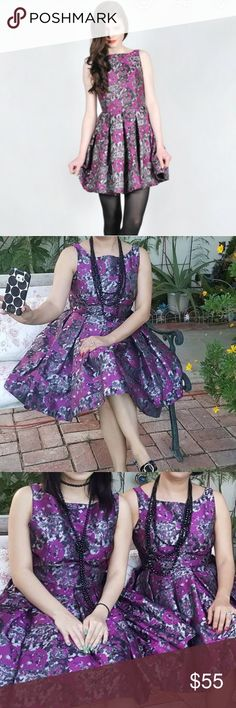BB Dakota metallic dress Fit flare  Floral metallic dress 100% polyester  Size 4 true size  Color black/purple/gray New with out tag. BB Dakota Dresses Midi
