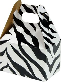 zebra print candy box.  tied with pink ribbon for favors?