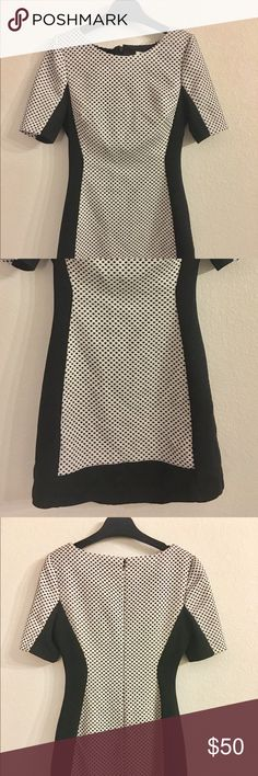 BCBG Shift Dress BCBG Shift Dress in Black and a White print. Has Black detail on sides for a slimming effect. Small black dot print in the throughout. Full back zipper closure. Worn for my graduation once and never worn again. Good condition! Fits amazing, the material is a little bit thicker that hugs everything but still comfortable. BCBGMaxAzria Dresses