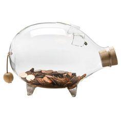 GLASS PIGGY BANK LARGE