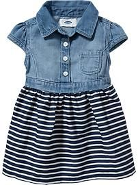Denim-Top Dresses for Baby Product Image Little Fashion, Baby Girl Fashion, Kids Fashion, Toddler Fashion, Fall Fashion, Toddler Outfits, Kids Outfits, Toddler Girls, Little Girl Dresses