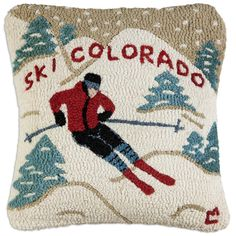 The Ski Colorado pillow is a hooked wool pillow. Vintage Ski, Vintage Travel Posters, Vintage Winter, Wool Pillows, Throw Pillows, Wool Rugs, Cushions, Ski Lodge Decor, Pillos