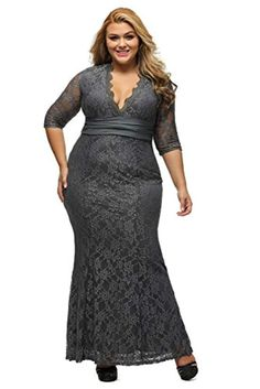f624fd5a5c4a6 Women s V-Neck 3 4 Sleeve Plus Size Lace Wedding Cocktail Dress --
