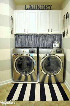 stripe walls. Love this laundry room!!!!!! So many cute ideas!!