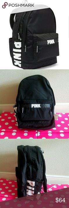 NWT VS Pink Campus Travel Essential Backpack New wit tag.  The one and only Campus Backpack! Durable and super cute, it's got plenty of pockets and tons of room to fit all your campus essentials.  Comfy padded strapswith mesh overlay for breathability.  Zippered padded laptop sleeve fits 17'' laptop Exterior zip pocket Internal mesh pocket18in x12in Velcro closure side pockets Water bottle not included. PINK Victoria's Secret Bags Backpacks