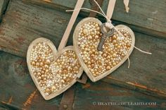 Beaded wooden heart, painted - glue beads and add ribbon and any other embellishments