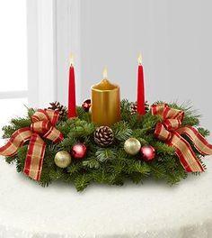 Pillar Candle Christmas Centerpiece