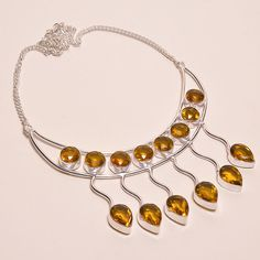 LOVELY & CHARMING FACETED CITRINE .925 SILVER HANDMADE NECKLACE JEWELRY JA552 #Handmade