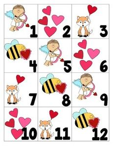There are pictures of a: cupid, hearts, fox with heart, and bee with valentine. Valentine Calendar, February Calendar, Calendar Numbers, Teacher Newsletter, Teacher Pay Teachers, Cupid, Teaching Ideas, Classroom Ideas, Kindergarten
