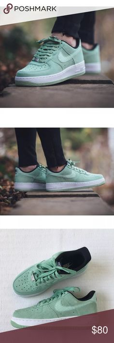 🐢 Women's Nike Air Force 1 '07 Seasonal Sneakers Women's Nike Air Force 1 '07 Seasonal Enamel Green Sneakers durable suede and the soft air sole cushioning. Style/Color: 818594-300  • Women's size 6  • NEW in box (no lid) • No trades •100% authentic Nike https://twitter.com/faefmgianm/status/895095114724327424