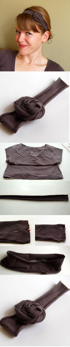 """Cute recycled headbands!  1. Cut a 1.5"""" strip from the bottom of an old tee [length should be equal to the circumference of your head minus 2""""]    2. Fold it in half lengthwise and pin in place [The right side of the fabric should be facing inward], Sew along the edge, and cut away the excess material.    3. Fold the headband right side out.  4. Make a flower or two [the tutorial to make the flower is also on the website]  Find it on: http://craftsnob.com/2011/02/t-shirt-headband/"""