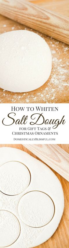 to Whiten Salt Dough A simple tutorial for creating beautiful white salt dough for christmas ornaments & gift tags!A simple tutorial for creating beautiful white salt dough for christmas ornaments & gift tags! Noel Christmas, Christmas Gift Tags, Diy Christmas Ornaments, Homemade Christmas, Christmas Projects, Holiday Crafts, Handmade Ornaments, Holiday Decor, Christmas Photos