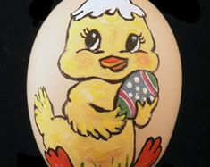 Easter Egg hand-painted Easter Bunny by EggshellART on Etsy