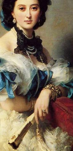 Franz Xaver Winterhalter,  Portrait of Countess Varvara Musina-Pushkina, detail