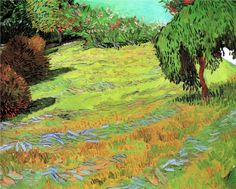 Sunny Lawn in a Public Park - Vincent van Gogh - Painted in Arles - July 1888 .