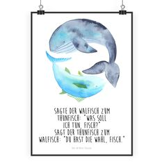 Poster DIN A2 Walfisch & Thunfisch aus Papier 160 Gramm  weiß - Das Original von Mr. & Mrs. Panda.  Jedes wunderschöne Poster aus dem Hause Mr. & Mrs. Panda ist mit Liebe handgezeichnet und entworfen. Wir liefern es sicher und schnell im Format DIN A2 zu dir nach Hause.    Über unser Motiv Walfisch & Thunfisch  Walfisch & Thunfisch sind ein ganz besonders liebevolles Motiv aus der Mr. & Mrs. Panda Kollektion.    Verwendete Materialien  Es handelt sich um sehr hochwertiges und edles Papier in…