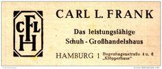 Original-Werbung/ Anzeige 1948 - CFLH - SCHUH - GROSSHANDELSHAUS FRANK - HAMBURG - ca. 80 x 30 mm