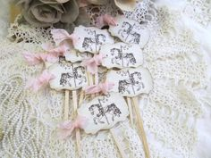 Carousel Horse Birthday Baby Shower Cupcake Cake Slice Toppers - Set of 18- Choice of Ribbon Color. $16.50, via Etsy.