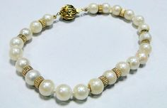 14 cts solid gold beads Pearl bracelet jewelry  by TRIBALEXPORT, $850.00