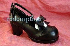 Demonia B/W Strap Bow Lolita Dolly EMO Shoes Gothic 9