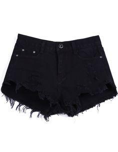 Shorts denim botones con franjas-Negro 16.59