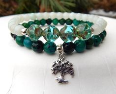 Amazonite Calming Bracelet with Tree of Life – BlueStoneRiver