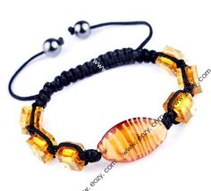 45mm Yellow Nylon Lampwork Hematite Bracelets Jewelry Gift