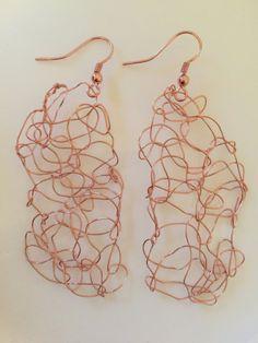 Knitted Copper Wire Earrings Fall Autumn Earrings by CatDKnits