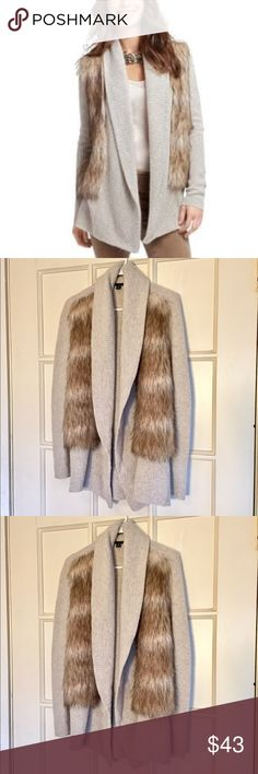 Ann Taylor faux fur luxurious long knit cardigan Warm and super-soft, this Ann Taylor faux fur cardigan is a must-have for the holiday season! ❄️❄️❄️ used- in excellent condition! Size S. Sweaters Cardigans