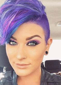 A place to cherish beautiful women who choose to enjoy the freedom empowerment and beauty of short hair. Please visit our sister site: www. Funky Hair Colors, Cool Hair Color, Funky Hairstyles, Pretty Hairstyles, Hairstyle Short, Men's Hairstyles, Formal Hairstyles, Short Hair Cuts, Short Hair Styles