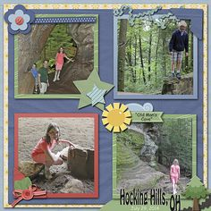 "Hocking Hills, OH – Old Man's Cave  Credits: Template:  Make It and Take It Freebie, Jen Wright Designs; Kit:  ""Backyard Fun (Cardstock, Kit, and Quick Pages)"" by Jen Wright Designs Font Used:  Comic Sans MS  Available at:   Daisies and Dimples - http://daisiesanddimples.com/index.php?main_page=index&cPath=8_154 Scrappy Bee - http://www.scrappybee.com/beehive/index.php?main_page=index&cPath=1_93"