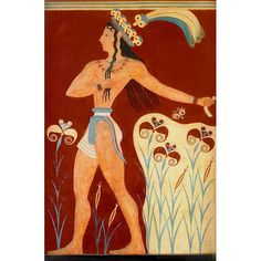 The Prince of the Lillies. Minoan wall fresco.  It is thought to represent the Priest King of Knossos. Dated to 1200 BC.