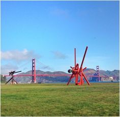 an outdoor exhibit of sculptures by Mark di Suvero in San Francisco's Crissy Field. #SF