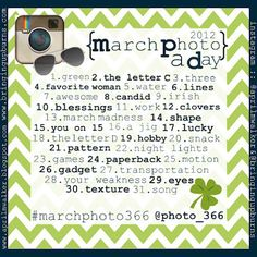 Cute ideas for photo a day (called project 366 because it's leap year!).  March edition.