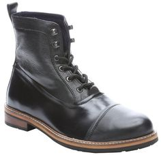 $69, Black Leather Boots: Ben Sherman Black Leather Ralph Lace Up Ankle Boots. Sold by Bluefly. Click for more info: https://lookastic.com/men/shop_items/153419/redirect