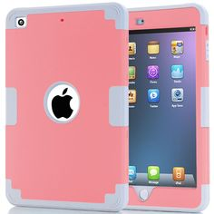 iPad Mini 3 Case,iPad Mini 2 Case,iPad Mini Case,ARMORCOO(TM) Heavy Duty Shockproof Dual Layer Hard PC   Soft Silicone Hybrid Impact Protection Armor Cover for Apple iPad Mini 1 2 3 (Gray/Pink) * Check out this great product.